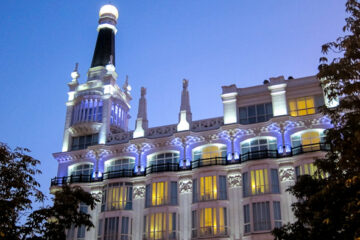 Night view of the Reina Victoria Hotel iluminations from Santa Ana square