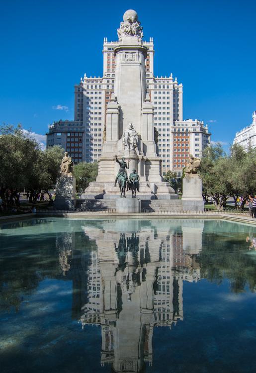 """""""Edificio España and the quijote sculpture in Plaza de España"""""""