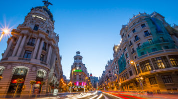 Gran Via boulevard with city lights