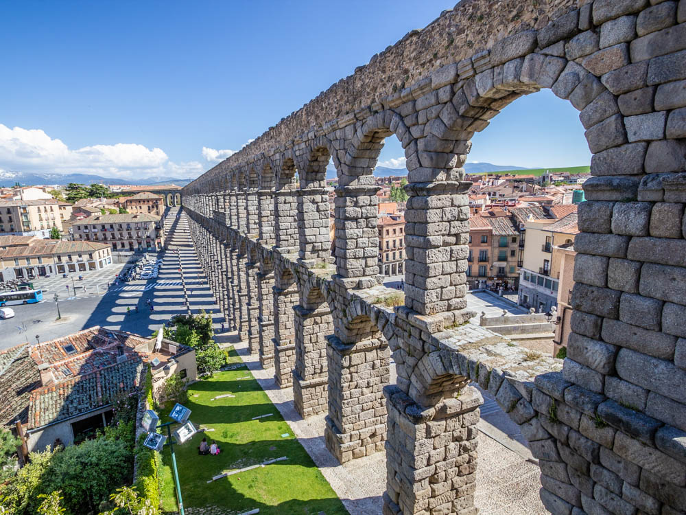 Hight View of the aqueduct arches in Segovia